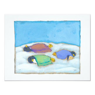 Snoozing adorable art penguins fun slumber party card