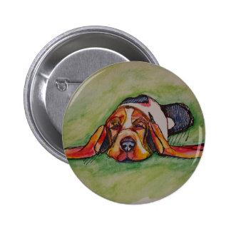Snoozing Bassett Hound Button