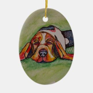 Snoozing Bassett Hound Ceramic Ornament