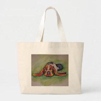 Snoozing Bassett Hound Large Tote Bag