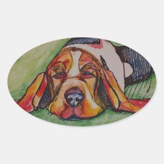 Snoozing Bassett Hound Oval Sticker