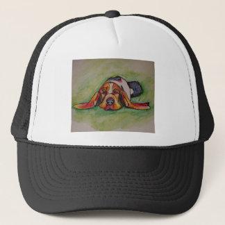 Snoozing Bassett Hound Trucker Hat