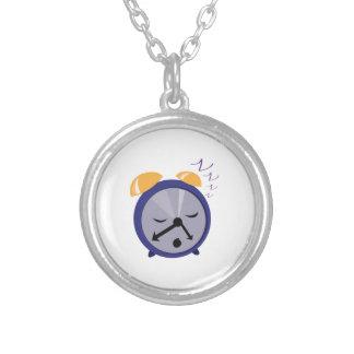 Snoozing Clock Round Pendant Necklace