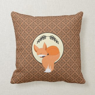 Snoozing Fox Woodland Throw Pillow