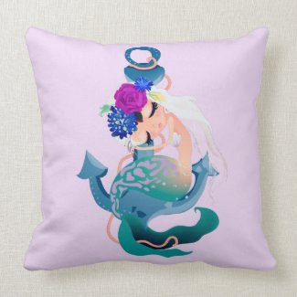 Snoozing Mermaid Girl Throw Pillow