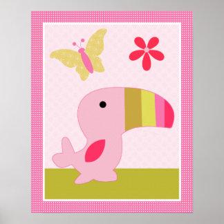 Snoozing Safari/Girl Animals Nursery Art Poster