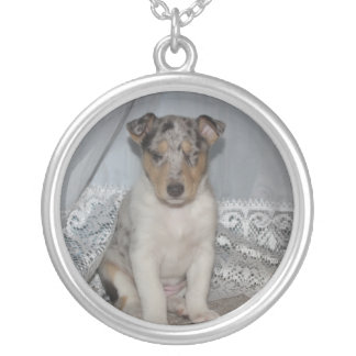 Snoozing Smooth Blue Collie Round Pendant Necklace
