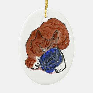 Snoozing tiger Kitten on Yarn Ball Ceramic Ornament