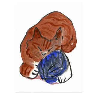 Snoozing tiger Kitten on Yarn Ball Postcard