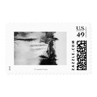 Snoqualmie Falls and Lodge, Washington Photograp Stamp