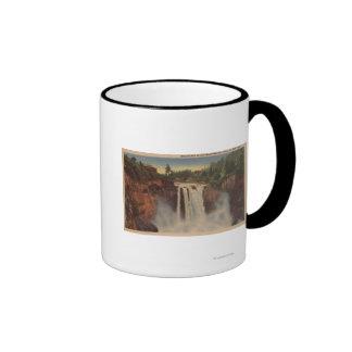 Snoqualmie Falls, WA - View of Falls & Lodge Ringer Mug