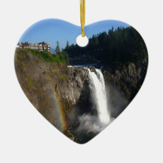 Snoqualmie Falls Washington Double-Sided Heart Ceramic Christmas Ornament