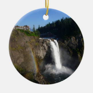 Snoqualmie Falls Washington Double-Sided Ceramic Round Christmas Ornament