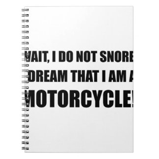Snore Motorcycle Spiral Notebook