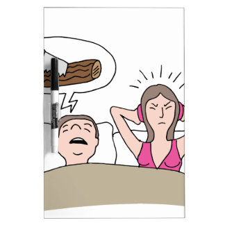 Snoring Husband Cartoon Dry Erase Board