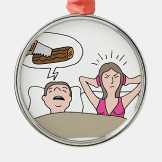 Snoring Husband Cartoon Metal Ornament