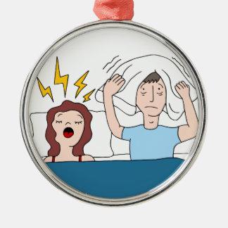 Snoring Wife Cartoon Metal Ornament