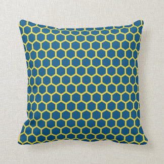 Snorkel Blue and Buttercup Yellow Honeycomb Pillow
