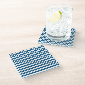 Snorkel Blue Chevron Stripes Glass Coaster