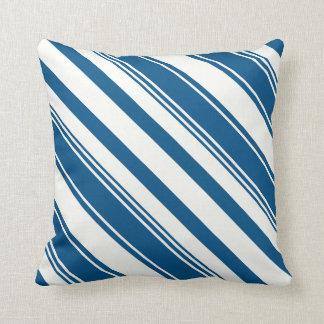Snorkel Blue Diagonal Stripes Throw Pillow