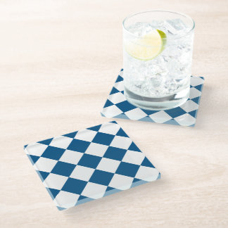 Snorkel Blue Diamond Pattern Glass Coaster