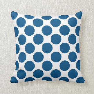 Snorkel Blue Polka Dots Throw Pillow