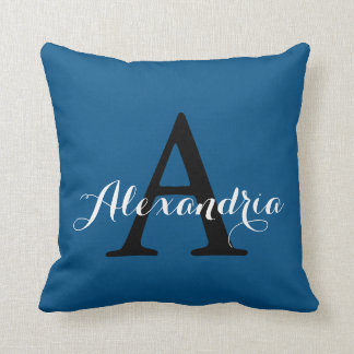 Snorkel Blue Royal Nautical Solid Color Monogram Throw Pillow
