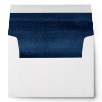 Snorkel Blue Watercolor Modern Wedding Envelope