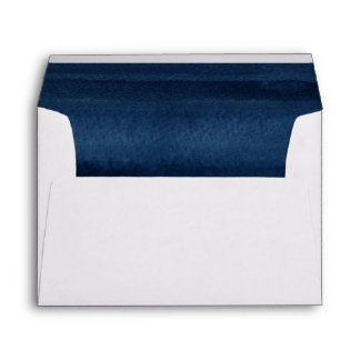 Snorkel Blue Watercolor Modern Wedding Envelope