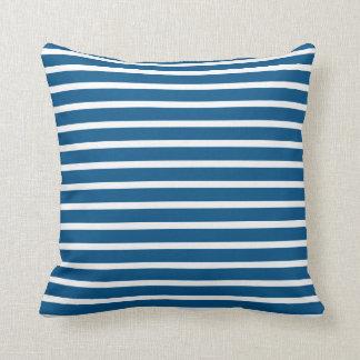 Snorkel Blue & White Fine Striped Throw Pillow