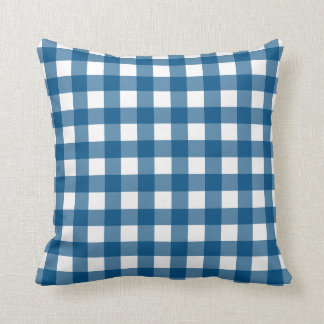 Snorkel Blue & White Gingham Check Throw Pillow