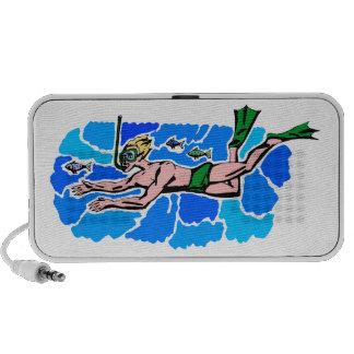 Snorkel Diver Design Doodle Speaker System