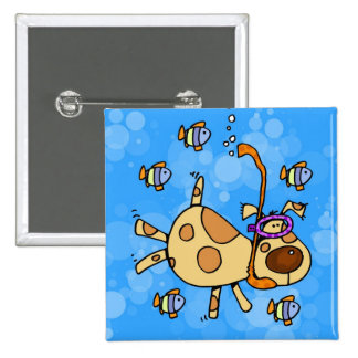 snorkel doggy pinback button