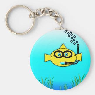 Snorkel Fish Basic Round Button Keychain