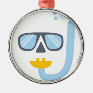 Snorkel Gear Round Metal Christmas Ornament
