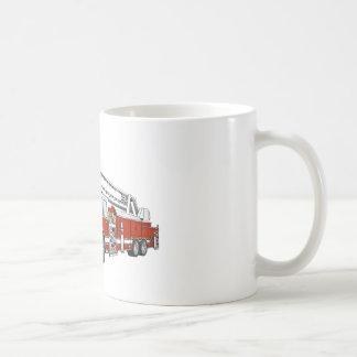 Snorkel Hook and Ladder Fire Truck Cartoon Coffee Mug