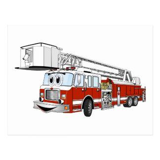 Snorkel Hook and Ladder Fire Truck Cartoon Postcard