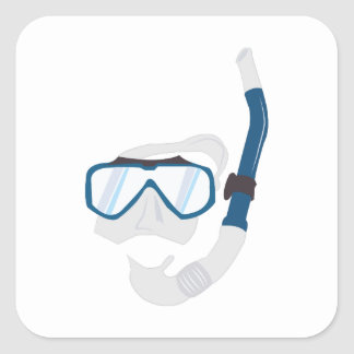 Snorkel Mask Square Stickers