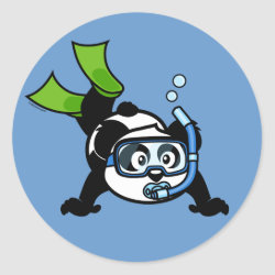 Round Sticker with Snorkeling Panda design