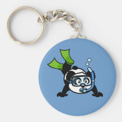 Basic Button Keychain with Snorkeling Panda design