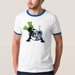 Men's Basic Ringer T-Shirt with Snorkeling Panda design