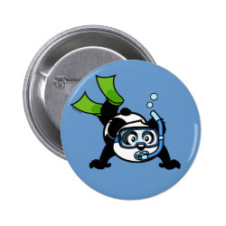 Round Button with Snorkeling Panda design