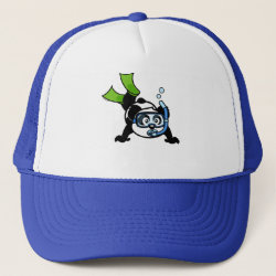 Trucker Hat with Snorkeling Panda design