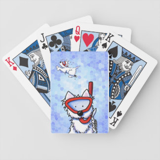 Snorkel Westies In Mosaic Ocean Bicycle Playing Cards