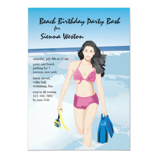 Snorkeler Girl Invitation