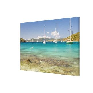 Snorkelers en la ensenada idílica de la ensenada d impresiones en lienzo estiradas