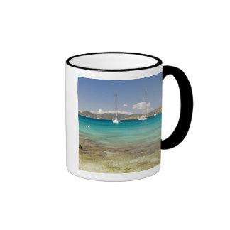 Snorkelers en la ensenada idílica de la ensenada d taza a dos colores