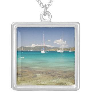 Snorkelers in idyllic Pirates Bight cove, Bight, Square Pendant Necklace