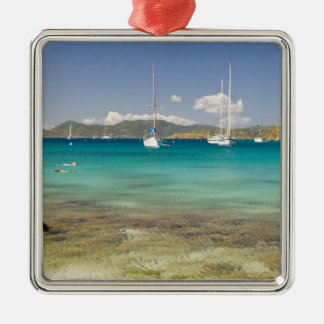 Snorkelers in idyllic Pirates Bight cove, Bight, Square Metal Christmas Ornament