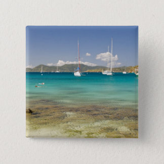 Snorkelers in idyllic Pirates Bight cove, Bight, Pinback Button